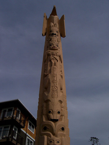 A Suquamish totem pole in Washington state.